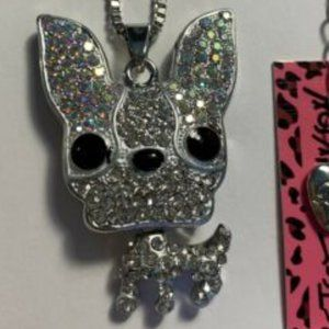 Betsey Johnson Rhinestone Boston Terrier Necklace